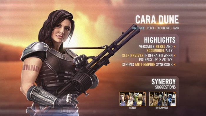 galaxy of heroes cara character card