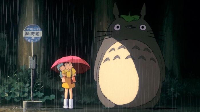mi vecino totoro mei satsuke lluvia parada bus