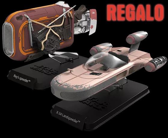 Suscríbete antes del 1 de agosto y recibe de regalo estas dos exclusivas naves para completar tu colección. Deslizador de Rey, con tu envío 13. Deslizador terrestre de Luke, con tu envío 17.
