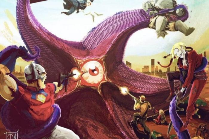 Diseño conceptual del Escuadrón Suicida enfrentándose a Starro